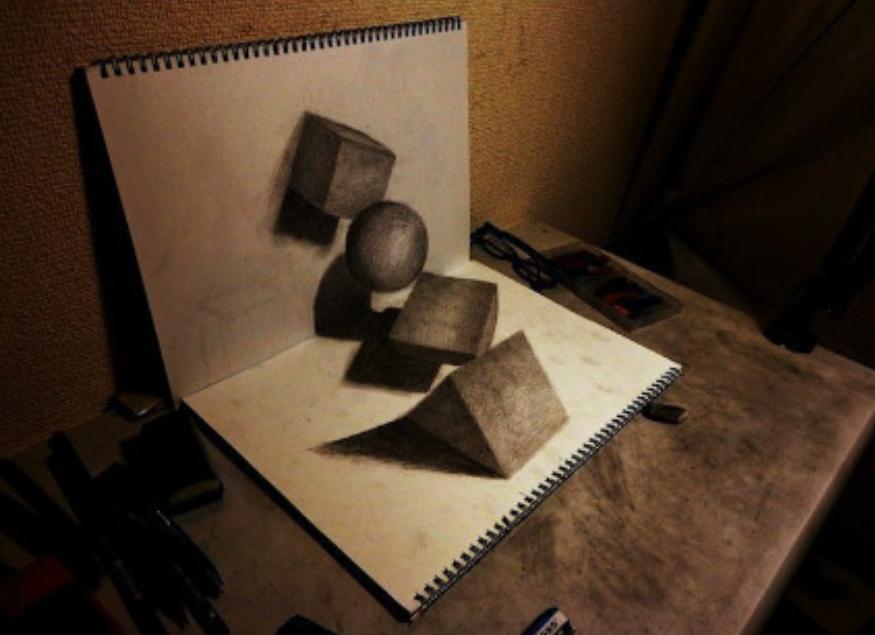 【最新一组纸上3d立体素描画