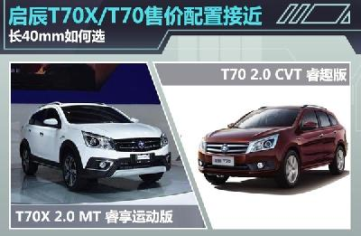 启辰T70X/T70售价配置接近 长40mm如何选