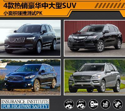 4款热销豪华中大型SUV 小面积碰撞测试PK