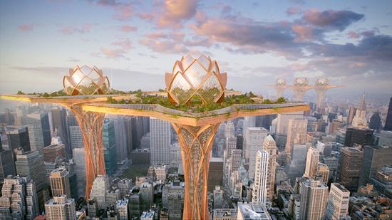 创意设计 莲花都市乌托邦 天空之城